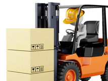 3d white people driving a forklift with boxes. 3d illustration. White people driving a forklift with boxes.  white background Royalty Free Stock Photos
