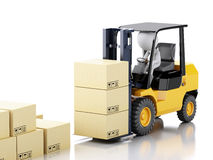 3d white people driving a forklift and cardboard boxes Royalty Free Stock Image