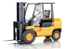 3d white people driving a forklift truck. Royalty Free Stock Images