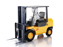 3d white people driving a forklift truck. Stock Image