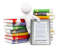 3D white people. Ebook reader concept. 3d white people. Man with piles of books and a ebook reader. White background royalty free illustration