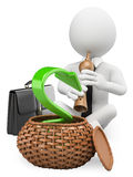 3D white people. Economy charmer. 3d white business person working as snake charmer to raise the economy. Business metaphor. White background Royalty Free Stock Photo