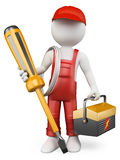 3D white people. Electrician. With tool box and screwdriver . White background royalty free illustration