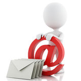 3d white people with email symbol and envelope. 3d renderer image. White people with email symbol and envelope. white background stock illustration