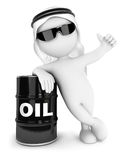 3d white people emir with a barrel of oil Royalty Free Stock Photography