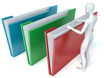 3d. White people examines folders.  white background Stock Photo