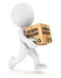 3d white people express delivery Royalty Free Stock Images