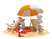 3D white people. Family at the beach. Father, mother and baby. White background Royalty Free Stock Photography
