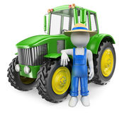 3D white people. Farmer with tractor Stock Images