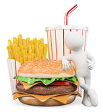 3D white people. Fast food. Hamburger fries drink Stock Photo
