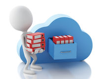 3d white people with file storage and cloud. Cloud computing con Royalty Free Stock Photography