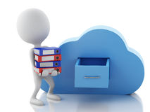 3d white people with file storage and cloud. Cloud computing con. 3d renderer illustration. White people with file storage and cloud. Cloud computing concept on Royalty Free Stock Images