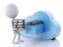 3d white people with file storage and cloud. Cloud computing con Stock Photography