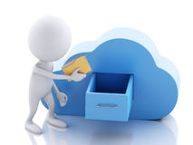 3d white people with folders and cloud. Cloud computing concept. Royalty Free Stock Photo