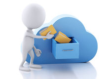 3d white people with folders and cloud. Cloud computing concept. Royalty Free Stock Images