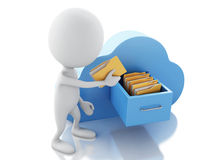3d white people with folders and cloud. Cloud computing concept. 3d renderer illustration. White people with folders and cloud. Cloud computing concept on white Royalty Free Stock Photo