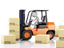3d white people with a forklift and cardboard boxes Royalty Free Stock Photography