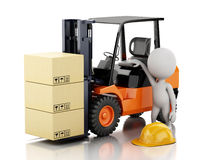 3d white people with a forklift and cardboard boxes Royalty Free Stock Photos