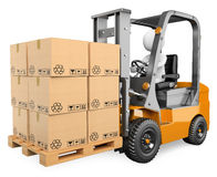 3D white people. Forklift with a pallet Royalty Free Stock Photo