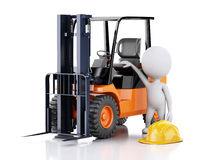3d white people with a forklift truck. Stock Photography