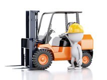 3d white people with a forklift truck. Royalty Free Stock Photo