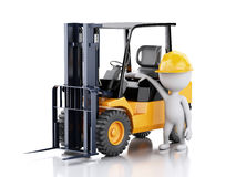 3d white people with a forklift truck. Royalty Free Stock Image