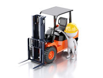 3d white people with a forklift truck Stock Photography