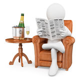 3D white people. Gentleman reading the newspaper and drinking ch. Ampagne. White background Stock Images