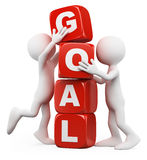 3D white people. Goal concept. 3d white people. Men stacking cubes with the word goal. White background Stock Photo