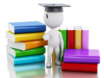 3d White people graduate with books. Royalty Free Stock Images