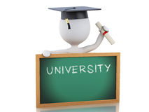 3d white people graduate with diploma, graduation cap and blackb. White people graduate with diploma, Graduation cap and blackboard.  white background. 3d Stock Images