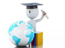 3d white people graduate with diploma, graduation cap. White people graduate with diploma, Graduation cap, earth globe and books.  white background. 3d renderer Royalty Free Stock Photo