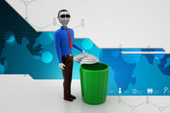 3d white people green recycle trash can Stock Photos