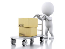 3D White people with hand truck and boxes Royalty Free Stock Photo