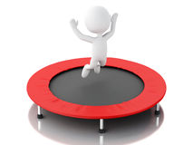 3d white people, happy jumping for the success in trampoline. Royalty Free Stock Photography