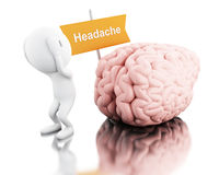 3D White people with headache. Royalty Free Stock Photos