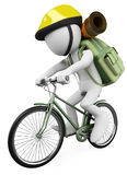 3D white people. Hiker biker. 3d white person hiker biker with backpack. White background Stock Photography