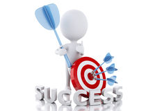 3d white people hit the red target. success concept Stock Images