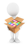 3d white people holding a box with applications. Isolated white background, 3d image Royalty Free Stock Photography