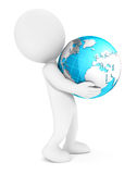 3d white people holding earth. White background, 3d image Royalty Free Stock Images