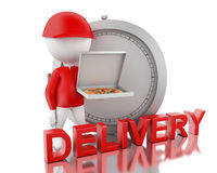 3d White people holding pizza boxes on time. 3d render image. White people holding delivery boxes. Fast moving and delivery concept. Isolated White background Stock Photo