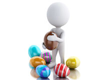 3d white people holds Easter egg in a hand. Stock Photo