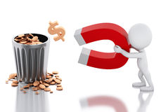 3d white people with horseshoe magnet attracting money. Stock Images