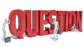 3d white people important question,  white background Royalty Free Stock Image