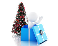 3d White people inside a gift box and Christmas tree Stock Images