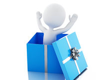 3d White people inside a gift box. Royalty Free Stock Images