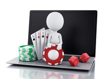3d white people with laptop. Casino online games concept Royalty Free Stock Photography