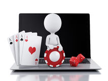 3d white people with laptop. Casino online games concept Stock Image