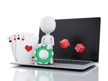 3d white people with laptop. Casino online games concept. 3d image. White people with dice, chips and cards. Casino online games concept. Isolated white Royalty Free Stock Photo