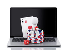 3d white people with laptop. Casino online games concept Stock Photos